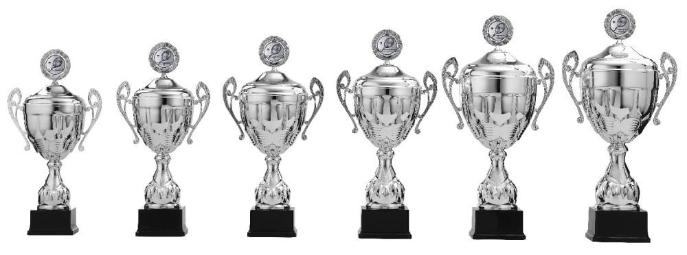Pokale mit Henkel 6er Serie S922 silber mit Deckel 47 cm