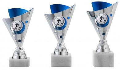 Pokale 3er Serie A1215 silber/blau 16 cm