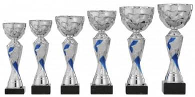 Pokale 6er Serie S449 silber-blau 26 cm