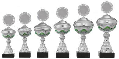 Pokale 6er Serie S450 silber-grün mit Deckel 26 cm