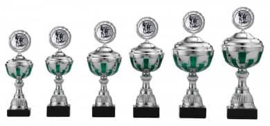 Pokale 6er Serie S491 silber/grün mit Deckel 25 cm
