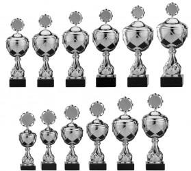 Pokale 12er Serie S756 silber/schwarz mit Deckel 27 cm