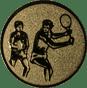 Emblem 25 mm 2 Tennisspieler, gold