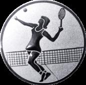 Emblem 25mm Tennisspielerin, silber