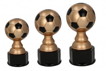 Fußballpokale 3er Serie TRY-RF1015 schwarz mit gold 23 cm