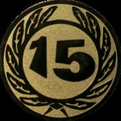 Emblem 25 mm Ehrenkranz mit 15, gold