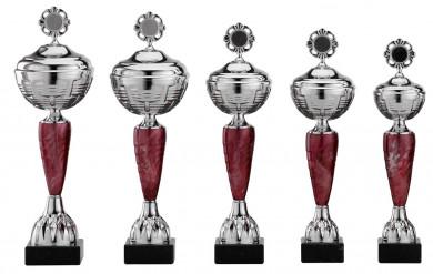 Pokale 6er Serie S472 silber/magenta mit Deckel 35 cm